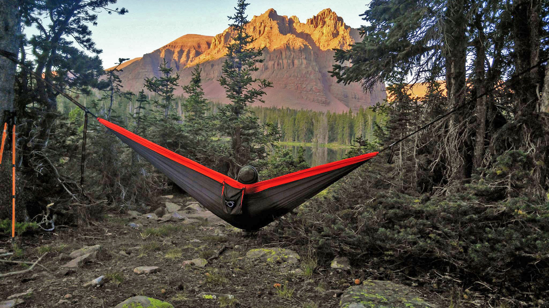 Orange Nylon Camping Hammock