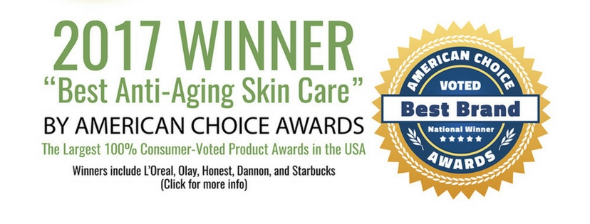 2017 winner of american choice awards best anti aging skincare