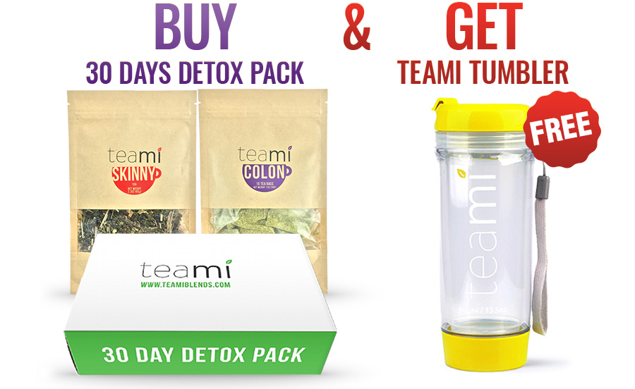 teami detox 30 days pack free yellow tumbler