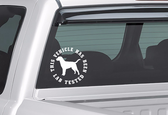 lab tested decal on truck