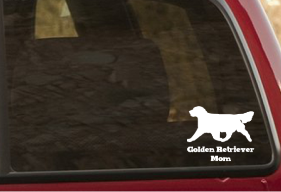 golden retriever decal on truck