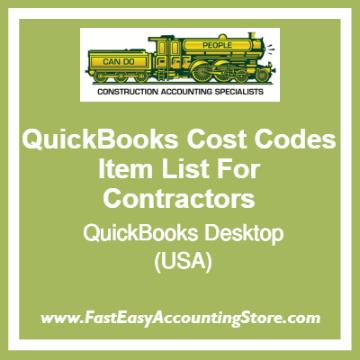 QuickBooks Cost Codes Item Lists Desktop Template For USA Contractors