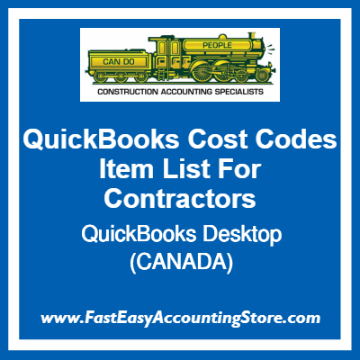QuickBooks Cost Codes Item Lists Desktop Template For Contractors