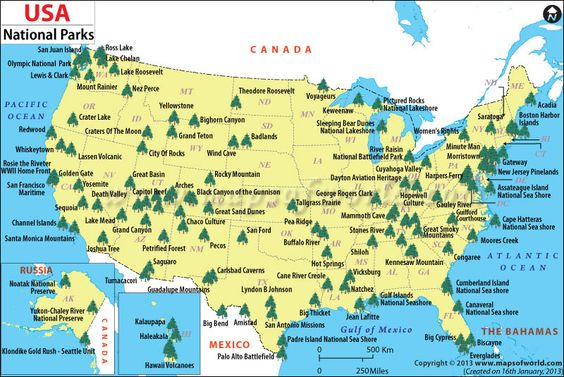 Map Of United States National Parks