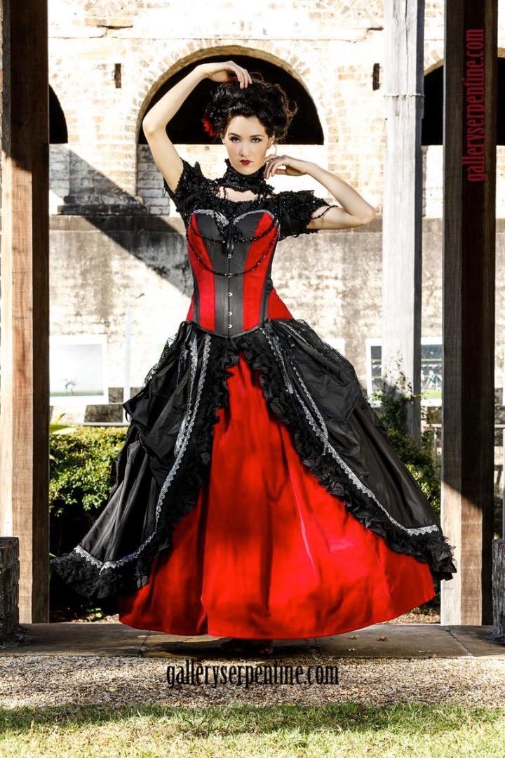 Black Rose Gothic Wedding Dress custom made to measure