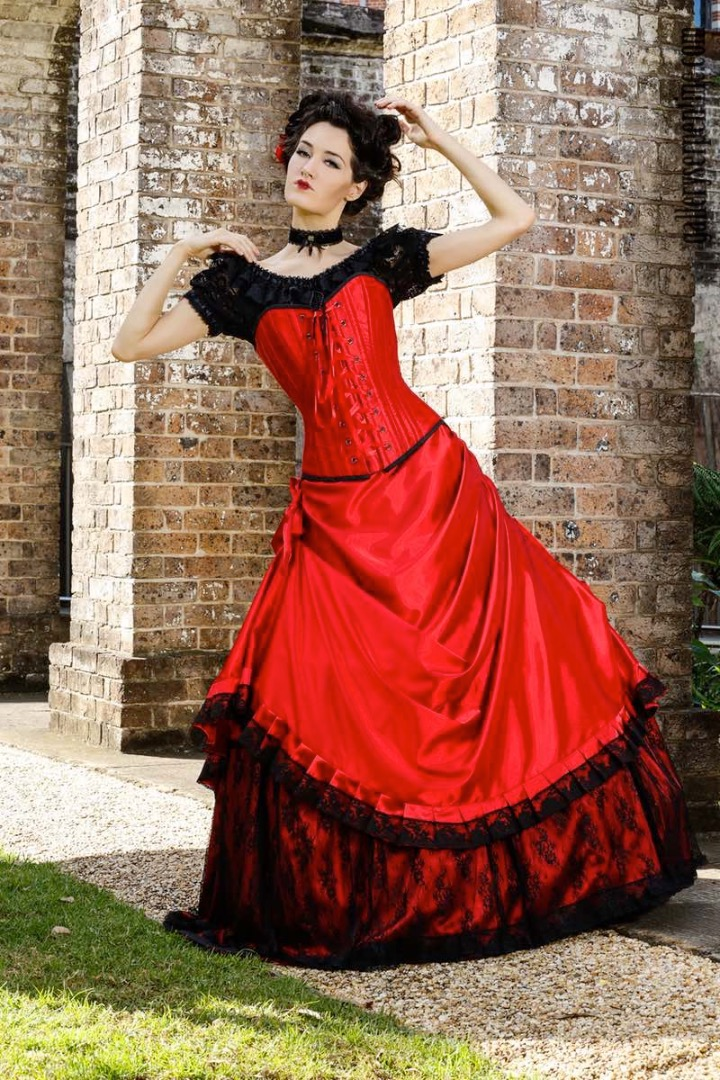Lady in Red gothic wedding dress made to measure