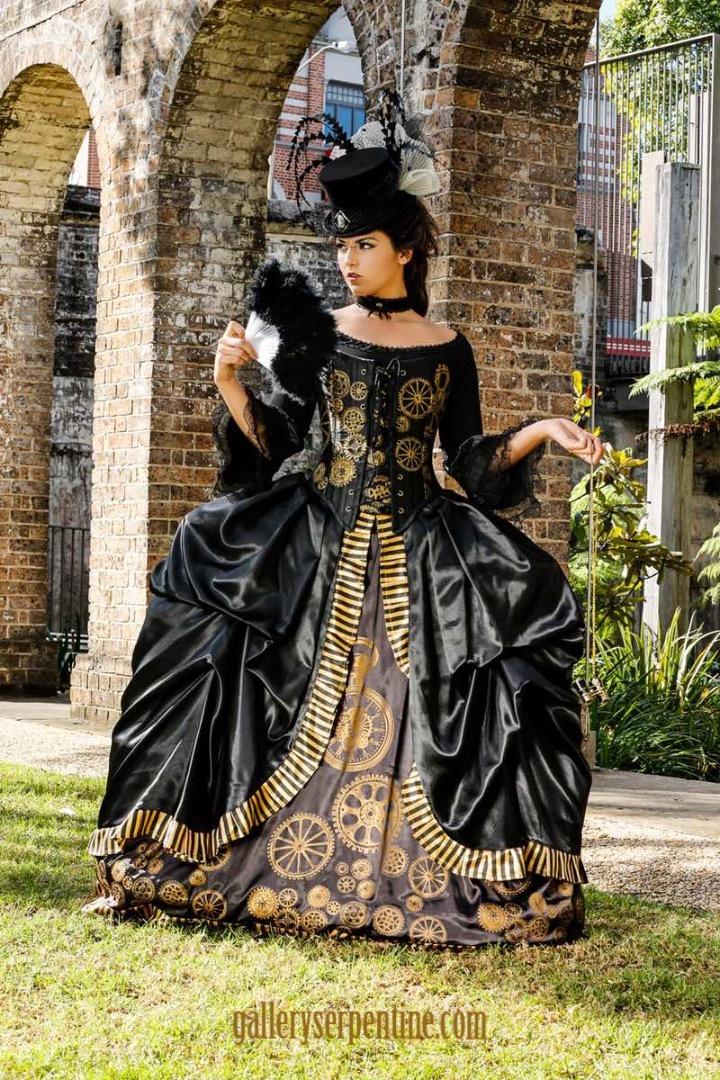 Gothic Steampunk Marie Antoinette Wedding Dress made in Australia