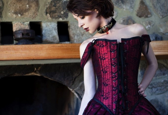 Parisian Gothic Bridal Gown with tudor style steel boned corset