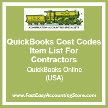 QuickBooks Cost Codes Item Lists Online Template For Contractors