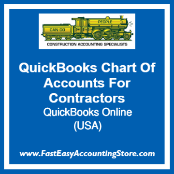 QuickBooks Chart Of Accounts Online Templates For USA Contractors