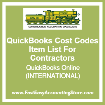 QuickBooks Cost Codes Item Lists Online Templates For International Contractors