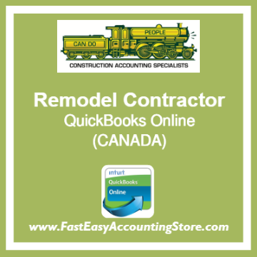 Remodel Contractor QuickBooks Online Chart Of Accounts Template Canada