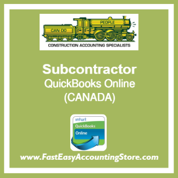 Subcontractor QuickBooks Online Chart Of Accounts Template Canada