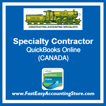 Specialty Contractor QuickBooks Online Chart Of Accounts Template Canada