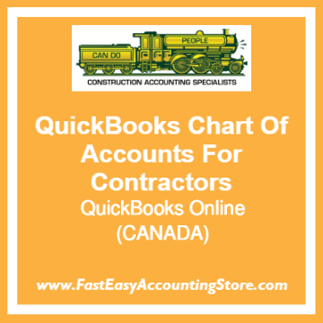 QuickBooks Chart Of Accounts Online Template For Contractors Based In Canada