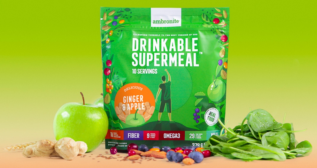 Ambronite Supermeal 1600 kcal Ginger & Apple Flavor