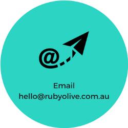 email hello@rubyolive.com.au