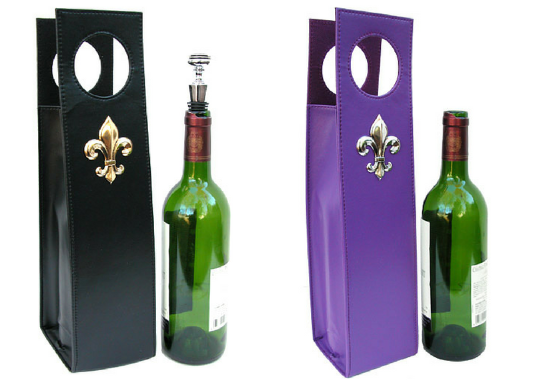 Wine Carriers black and purple with fleur de lis medallion