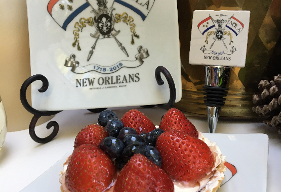 The small NOLA2018 plate is food safe. The pairing with the marble bottle stopper is a great valentine gift.