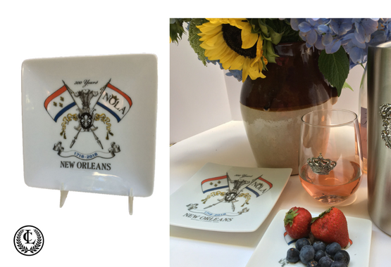 Small plate and trinket tray celebrating NOLA2018 for the New Orleans Tricentennial