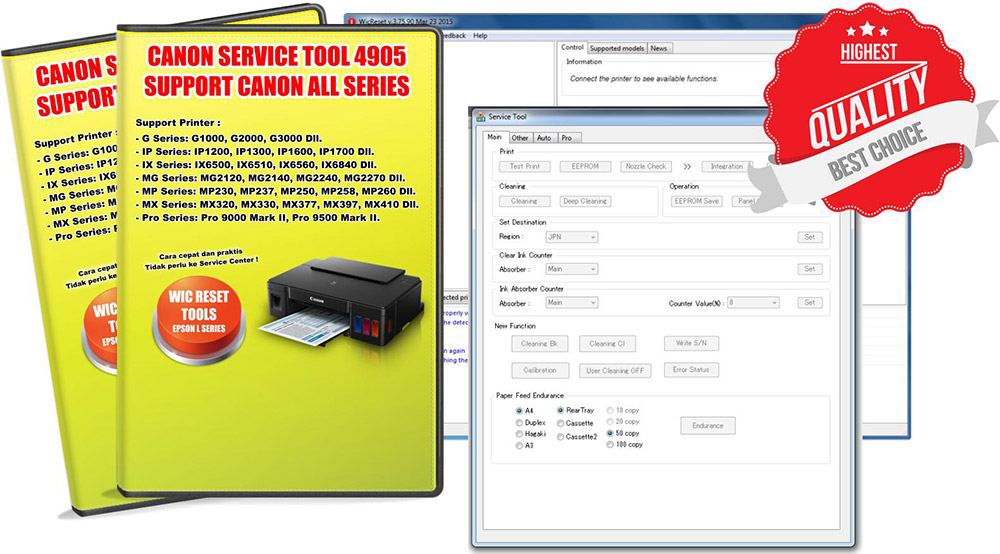 DOWNLOAD Reset Printer CANON Service Tool v4905 Adjustment Software