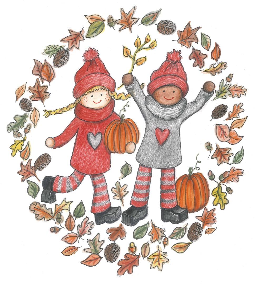 Autumn/Fall kindness elves illustration