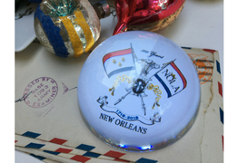 New Orleans Tricentennial Crystal Domed Paperweight