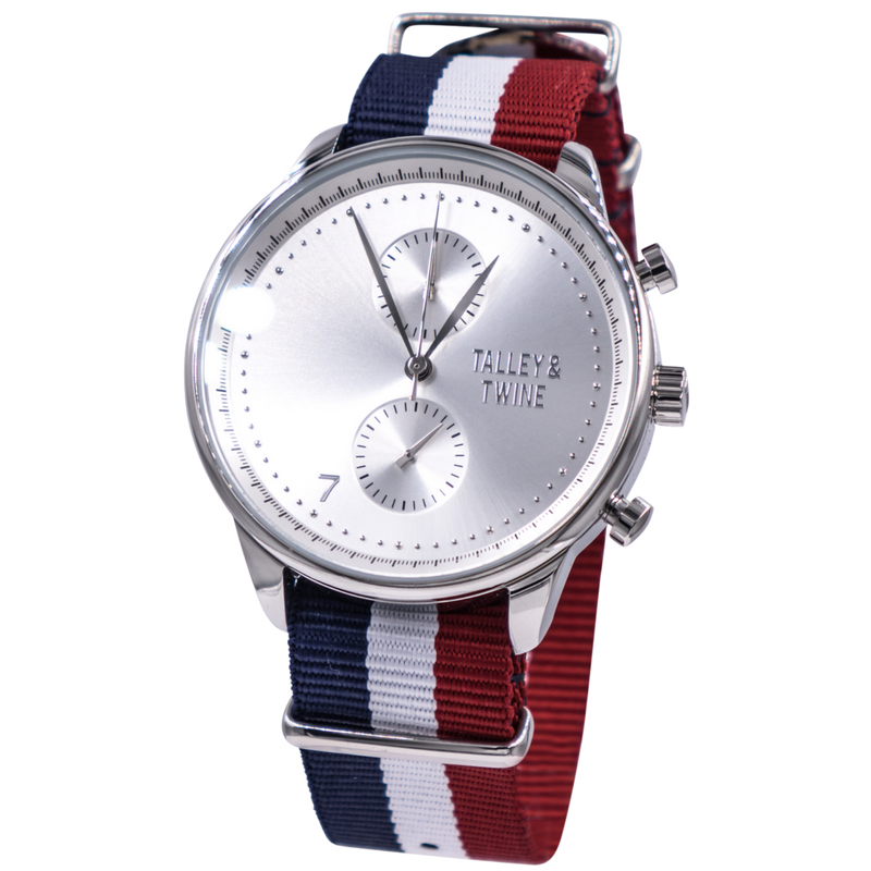 Silver Worley Chronograph M - Navy/White Stripes Canvas