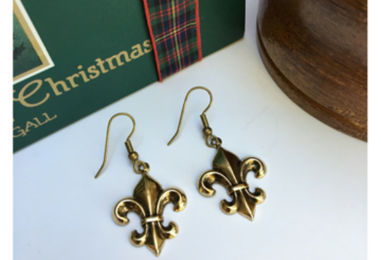 Fleur de lis Gold Plated Earrings on French Wire