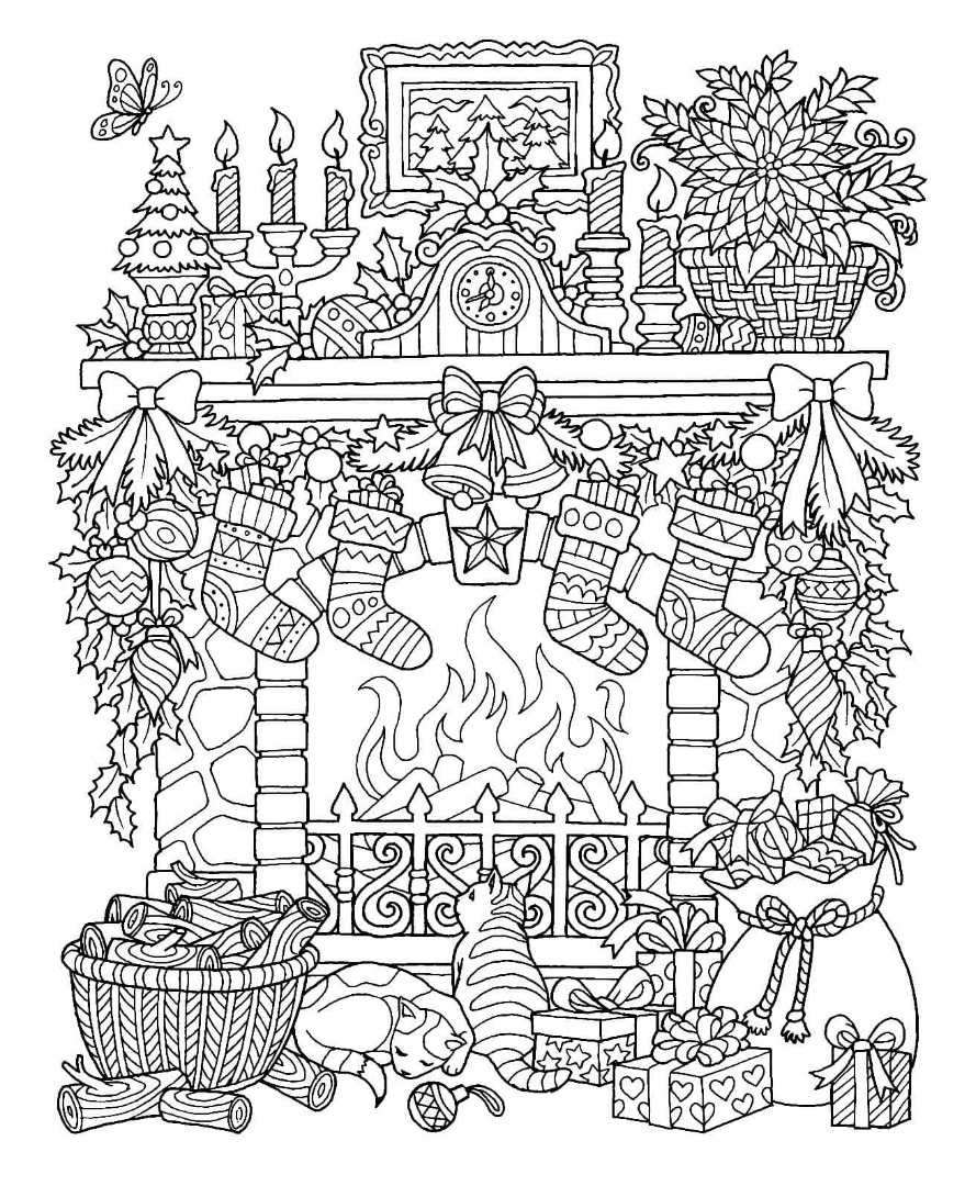 12 christmas drawing download ty for Adult christmas coloring pages
