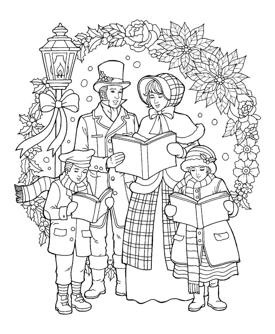 Christmas Caroler Coloring Page