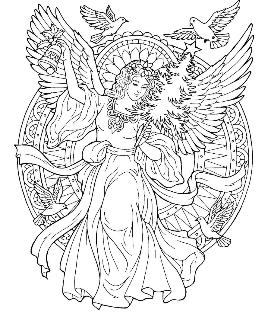 8th christmas drawing for Coloring page angel