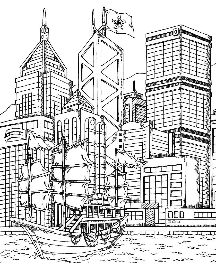 Hong Kong Coloring Page