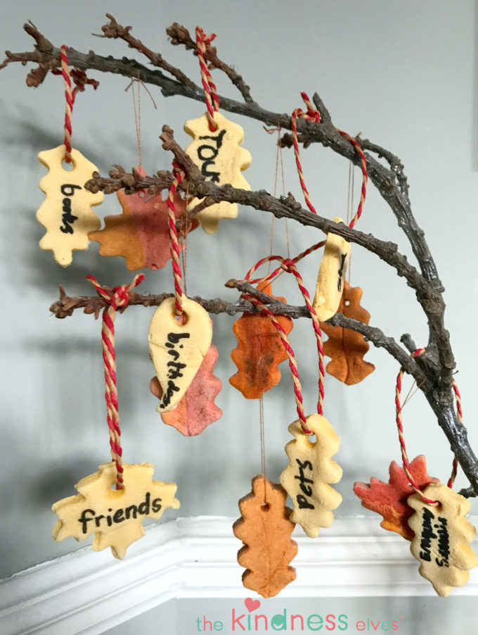 Salt Dough Thankful Leaves Hanging from Tree