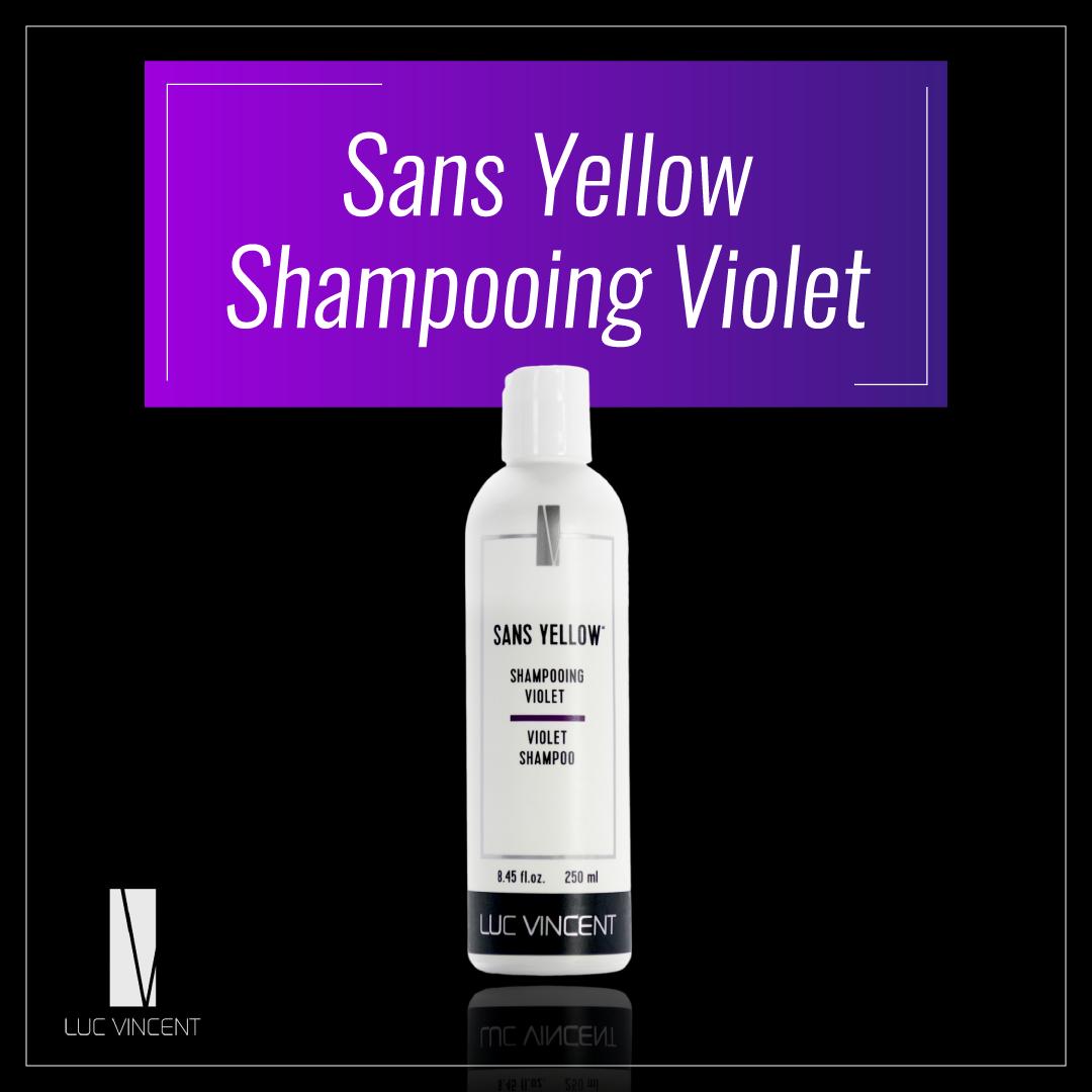 Sans yellow shampoing violet pour éliminer les tons de jaunes dans les cheveux.