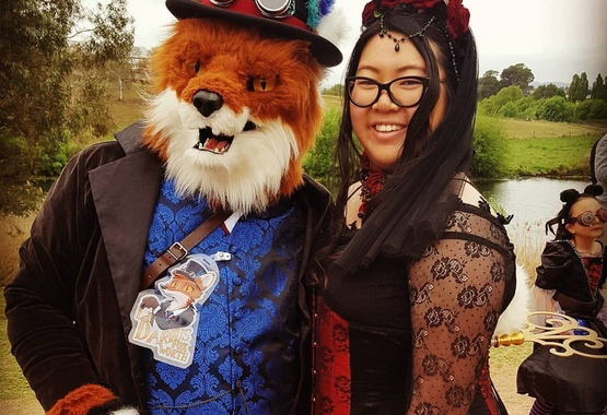 Lord Darius the Fox was a special guest at Goulburn, he's wearing a Gentleman Assassin Tailcoat by GS