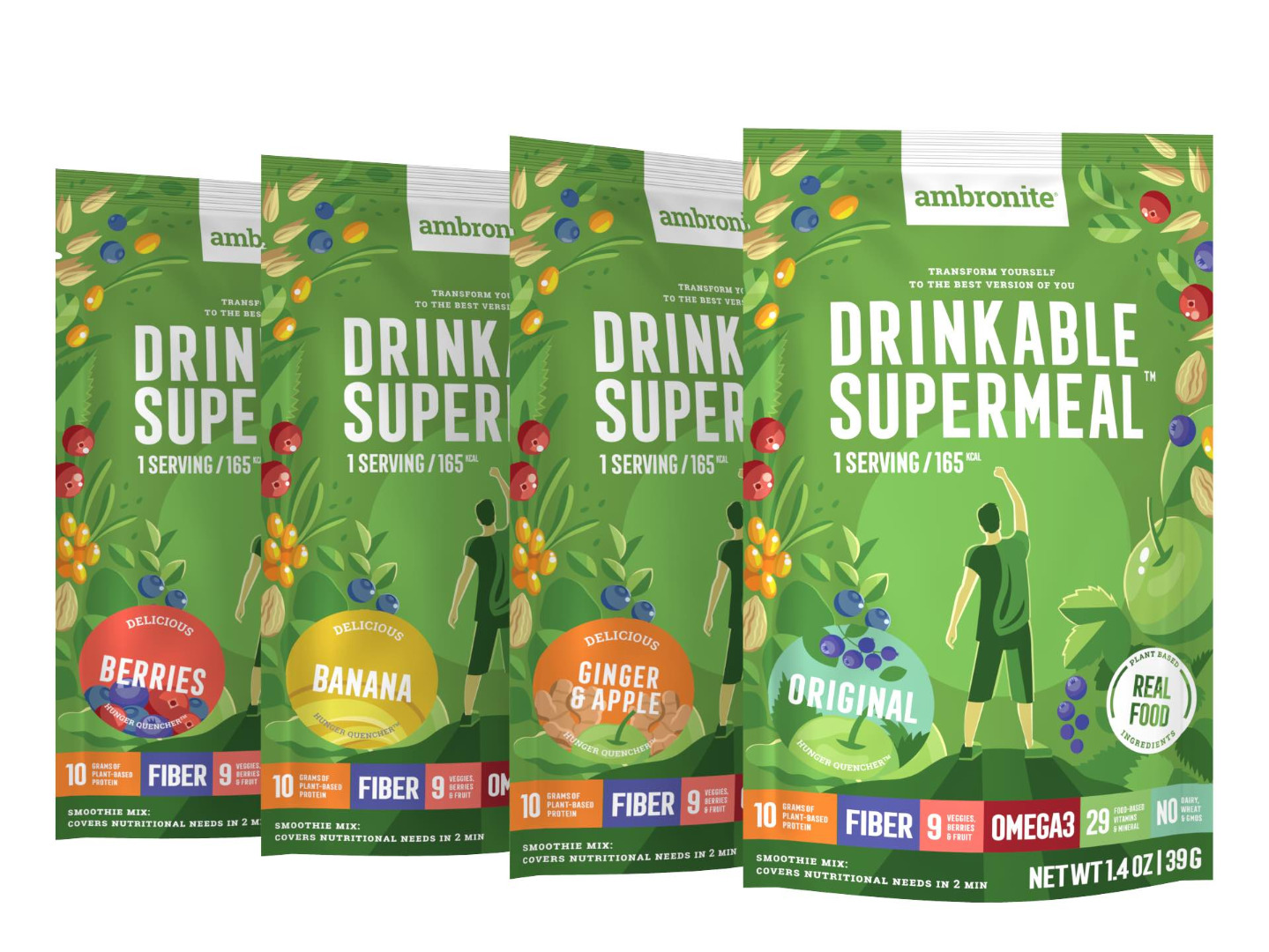 Ambronite 4 x 165 kcal snack meal pouches Sample