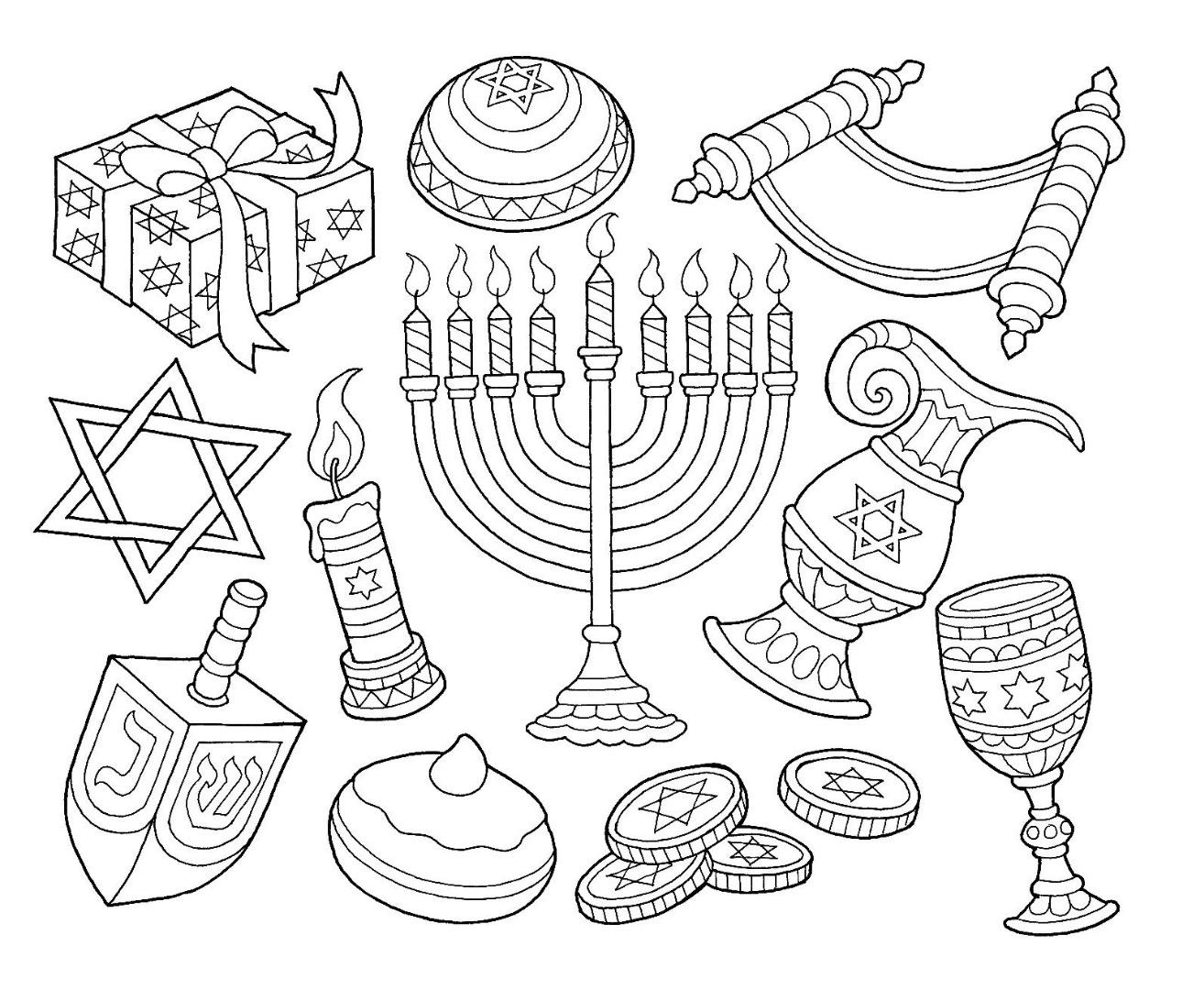 8 Free Hanukkah Coloring Pages / Drawings