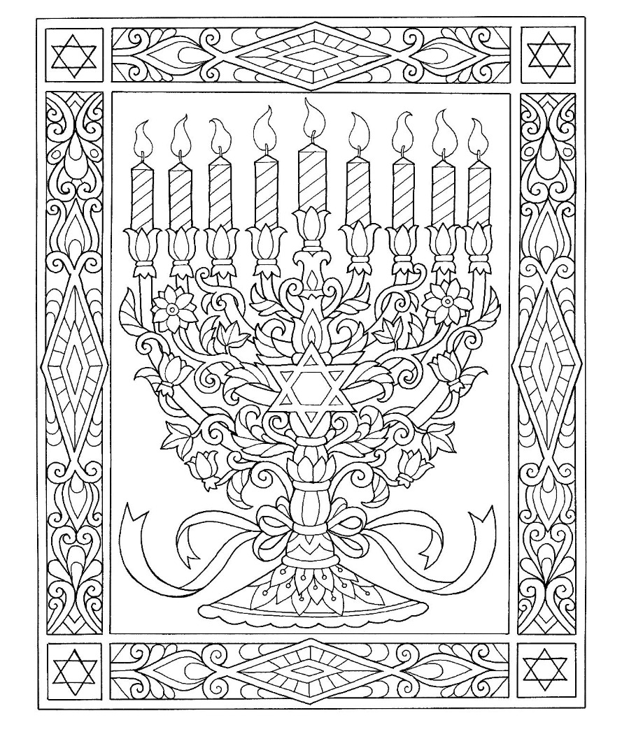 Hanukkah Manorah Drawing Coloring Page