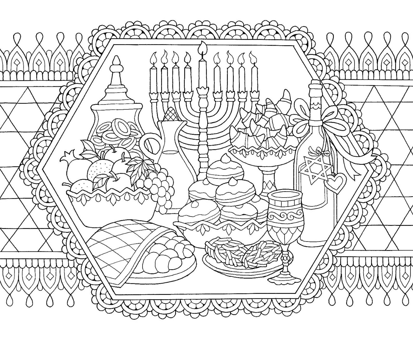 Hanukkah Feast Drawing Coloring Page
