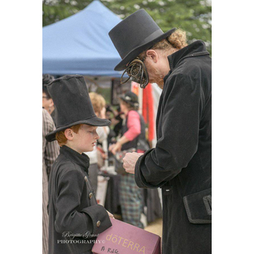 steampunk father and son at Back to Hartley wearing Gallery Serpentine frock coats