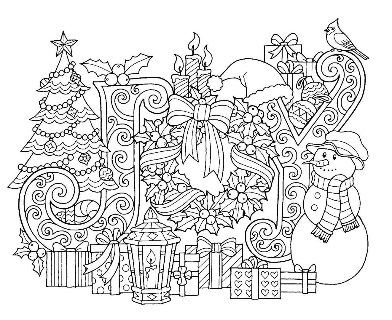 Christmas Joy Coloring Page