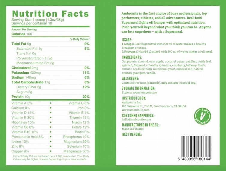 Ambronite nutrition label