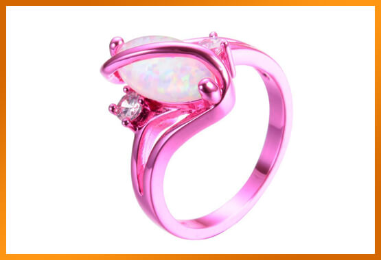 White Fire Opal Ring - Pink