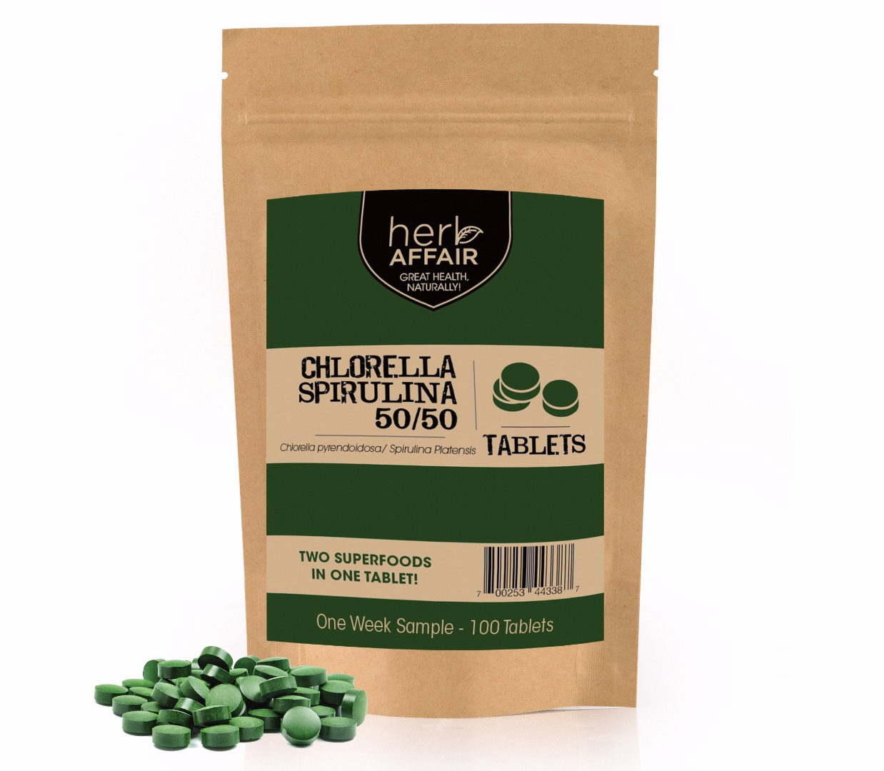 chlorella spirulina 50/50 tablets with pile of tablets in front