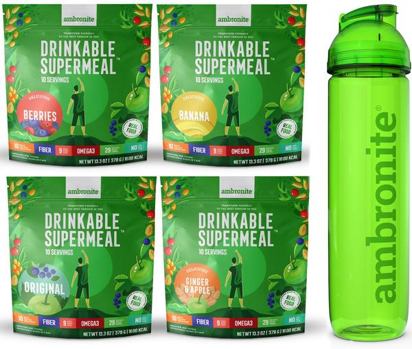 Gift Card for 4 Ambronite Drinkable Supermeal Big Bags + Shaker