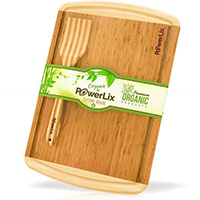 PowerLix Best ORGANIC Bamboo Wood Cutting Board