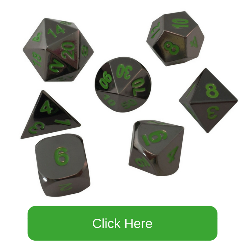 Shiny Black Nickel with Green Numbers Metal Dice | Black Dragon