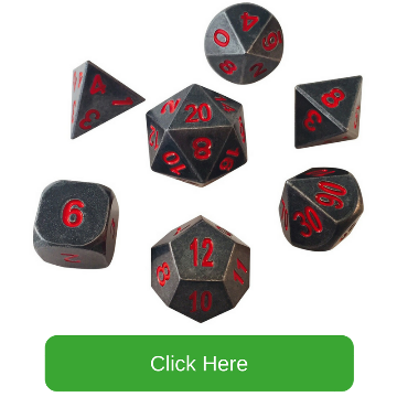 Gunmetal Gray with Red Numbers Metal Dice | Butchers Bill