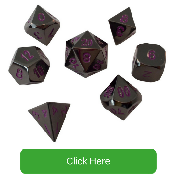 Shiny Black Nickel with Purple Numbers Metal Dice | Whispers of the Void